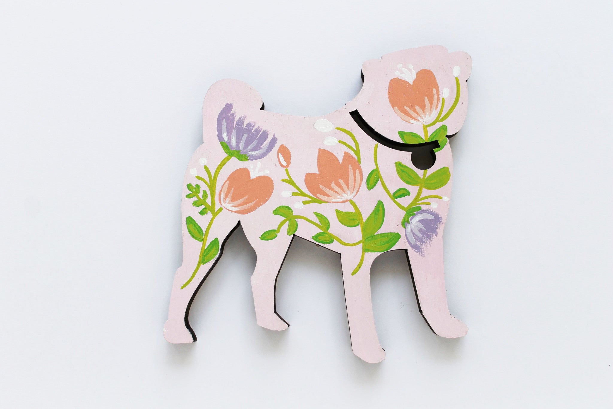 Gold Floral Pug Wooden Pug Silhouette