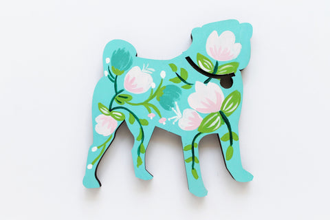 Wooden Pug Silhouette - teal