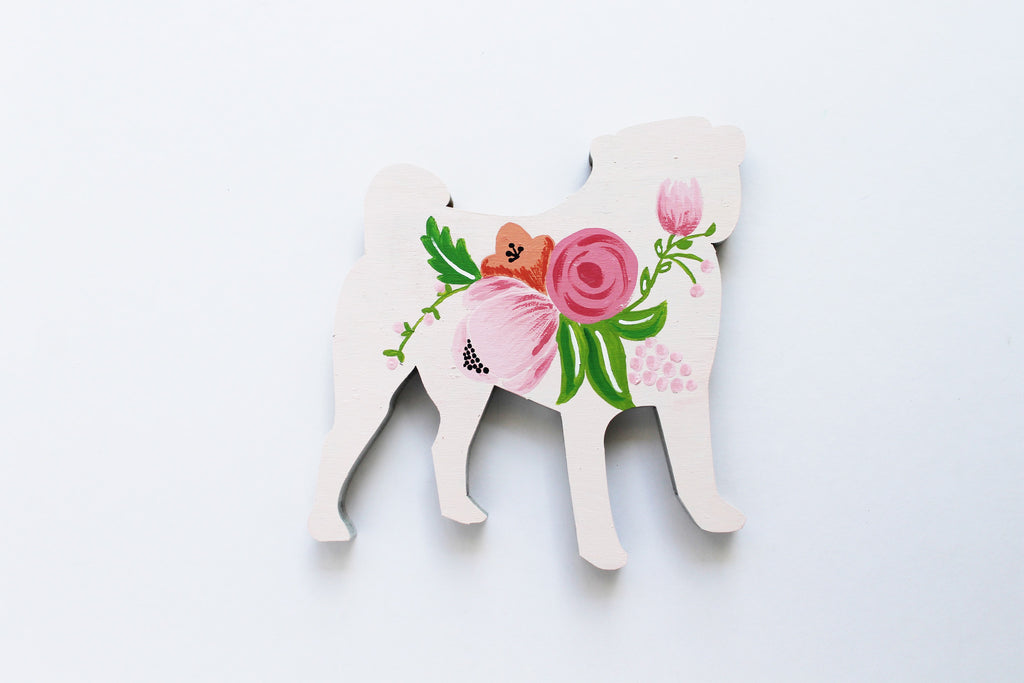 Wooden Pug Silhouette - Pale Pink
