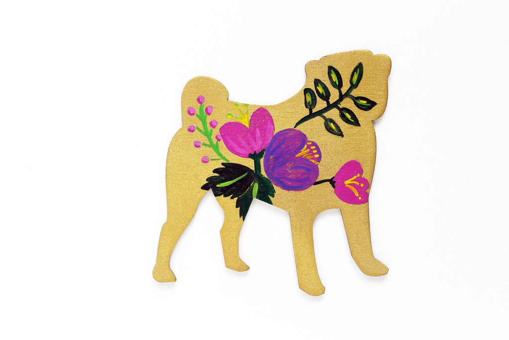 Wooden Pug Silhouette - gold violet