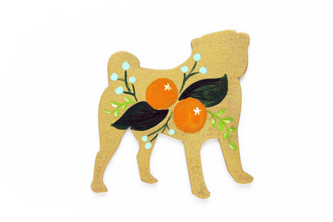 Wooden Pug Silhouette - Citrus Gold