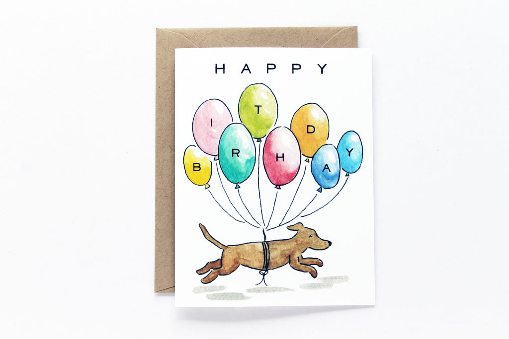 Balloons Dog Birthday Card