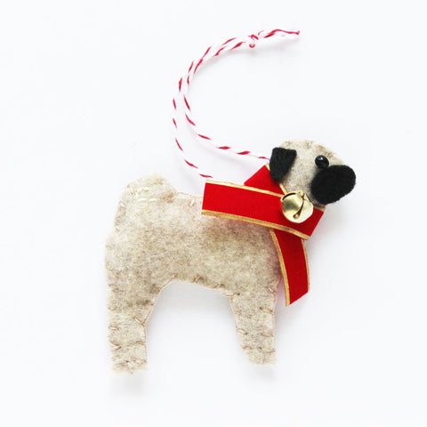 Pug Ornament - fawn pug with jingle bell