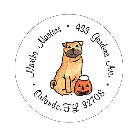 Pug Pumpkin Halloween Fall Address Labels