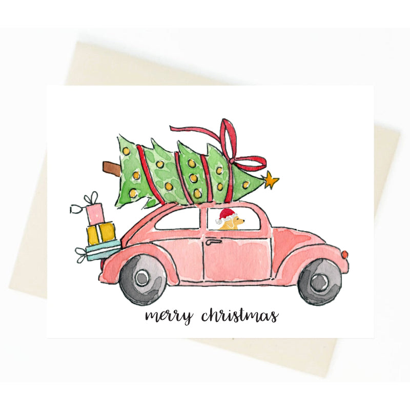 Christmas VW Beetle Golden Retriever Card