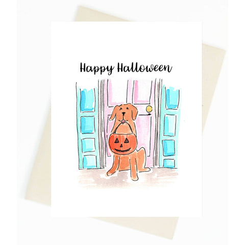 Happy Halloween Golden Retriever Greeting Card