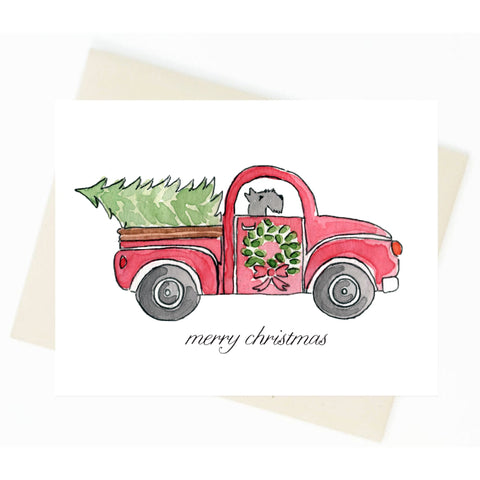 Christmas Red Truck Schnauzer Card