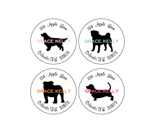 round dog address labels lydia pugs