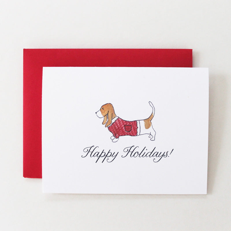 Basset Hound Holiday Sweater Card