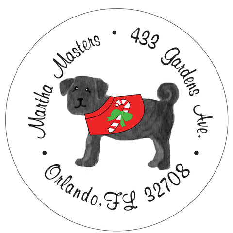 Black Pug Christmas Candy Cane Address Labels