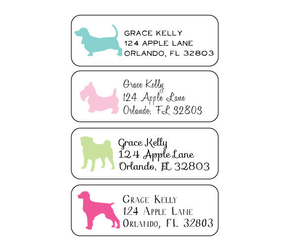 dog return address labels lydia pugs