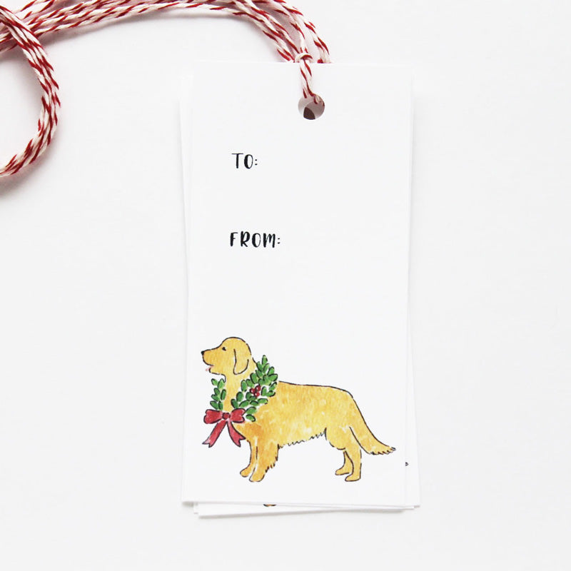 Golden Retriever Wreath Gift Tags