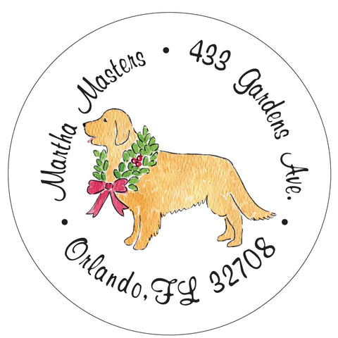 Golden Retriever Christmas Wreath Address Labels