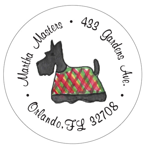 Scottie Christmas Return Address Labels