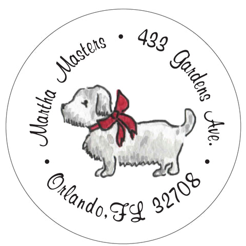 Westie Christmas Return Address Labels