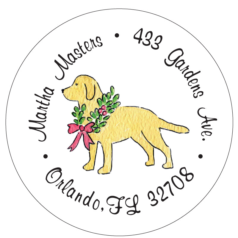 Labrador Retriever Christmas Wreath Address Labels