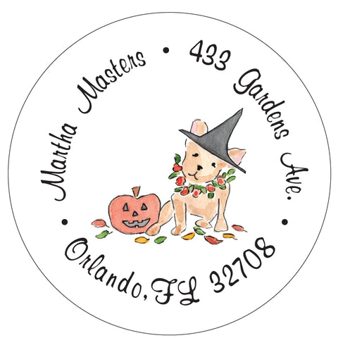 Frenchie Halloween Fall Address Labels