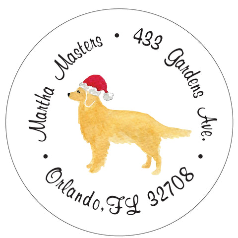 Golden Retriever Christmas Santa Address Labels