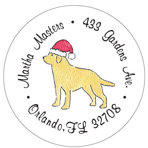 Labrador Retriever Christmas Santa Address Labels