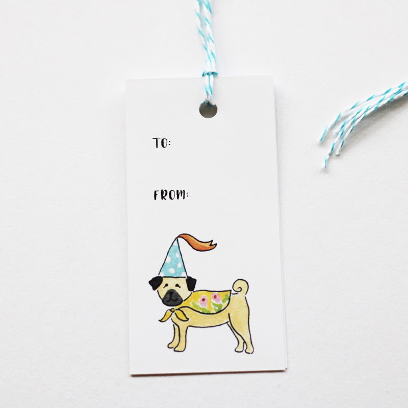 Pug Celebrate Birthday Gift Tags