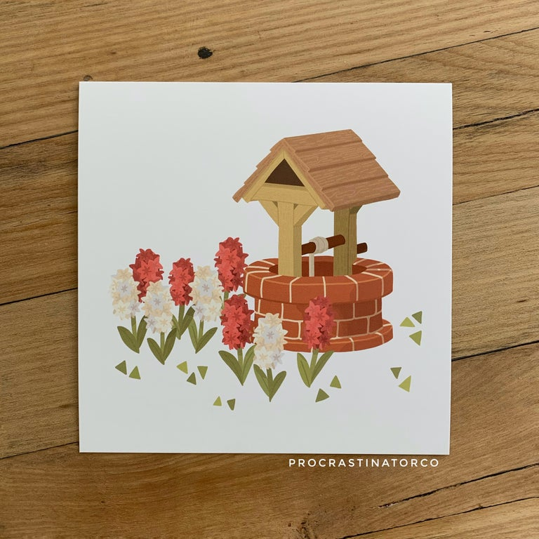 Hyacinth Brick Well Illustration Print