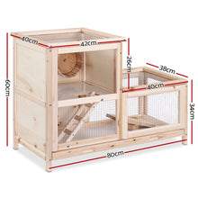 Load image into Gallery viewer, i.Pet Hamster Guinea Pig Ferrets Rodents Hutch Hutches Large Wooden Cage Running 80cm x 40cm x 60cm