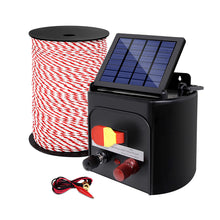 Load image into Gallery viewer, Giantz Electric Fence Energiser 5km Solar Powered Charger + 500m Rope