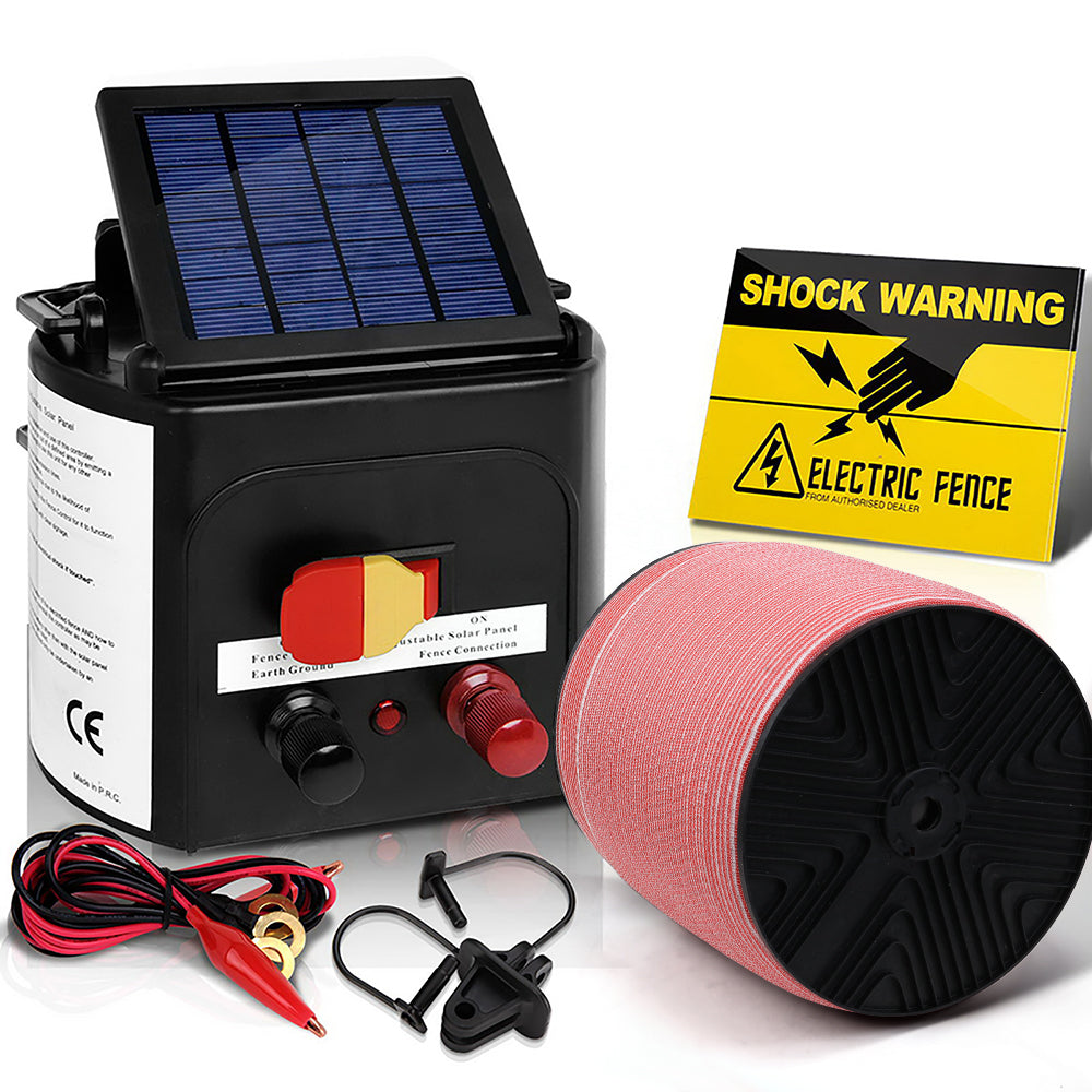 Giantz Electric Fence Energiser 3km Solar Powered Energizer Set + 1200m Tape