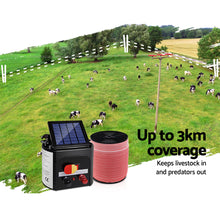 Load image into Gallery viewer, Giantz Electric Fence Energiser 3km Solar Powered Energizer Set + 1200m Tape