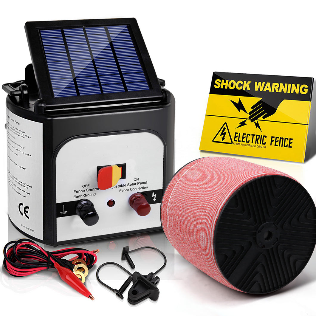 Giantz Electric Fence Energiser 8km Solar Powered Energizer Charger + 1200m Tape