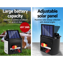 Load image into Gallery viewer, Giantz Electric Fence Energiser 8km Solar Powered Energizer Charger + 1200m Tape
