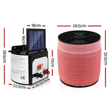 Load image into Gallery viewer, Giantz Electric Fence Energiser 8km Set Solar Powered Energizer + 2000m Tape