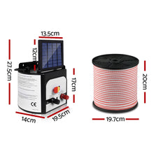 Load image into Gallery viewer, Giantz 8km Solar Electric Fence Energiser Charger with 400M Tape and 25pcs Insulators