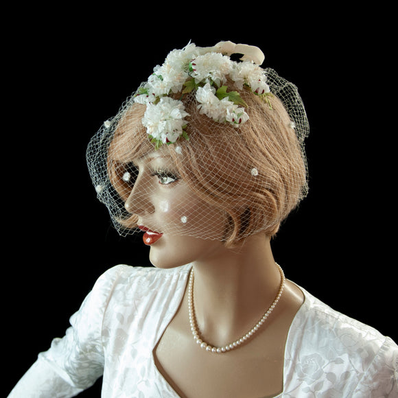Vintage white floral fascinator veil, flowers birdcage netting, formal pin-up mid-century wedding bridal hat