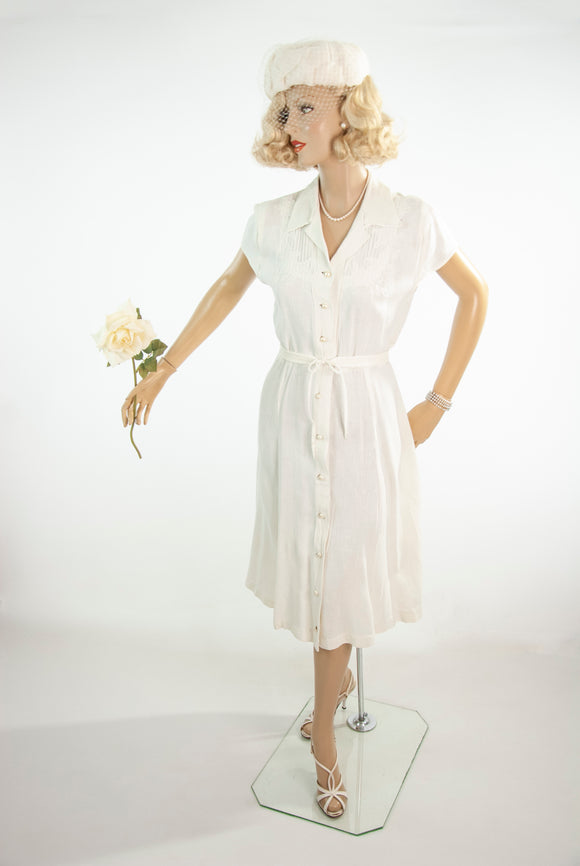 Vintage 1950s white linen dress, short sleeve floral embroidered midi shift, simple wedding M