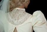 Vintage Gunne Sax wedding dress, ivory white lace Victorian style long puffed sleeves, steampunk V-neck midi, 1980s XXS