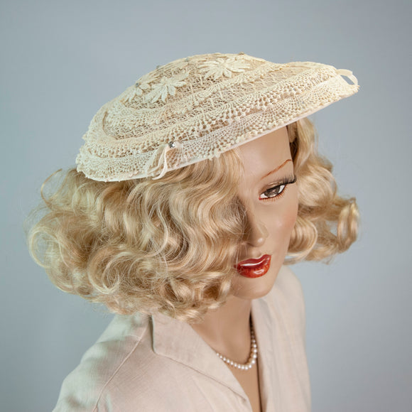 Vintage 1950s ivory lace sun hat, white semi sheer saucer large brim cartwheel, floral formal summer 1950s pin-up wedding