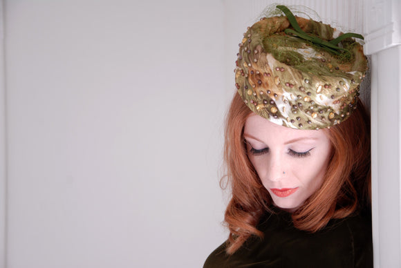 Vintage 1950s green hat, embellished rhinestones pillbox, gold formal pin-up
