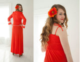 Vintage red bell-sleeve maxi dress set, bolero crop top, orange white lace boho XS S