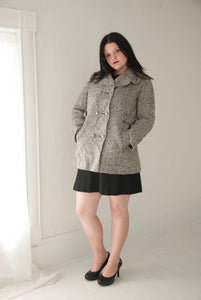 Vintage black white pea coat, gray wool herringbone jacket, 1960s 1970s winter peacoat L