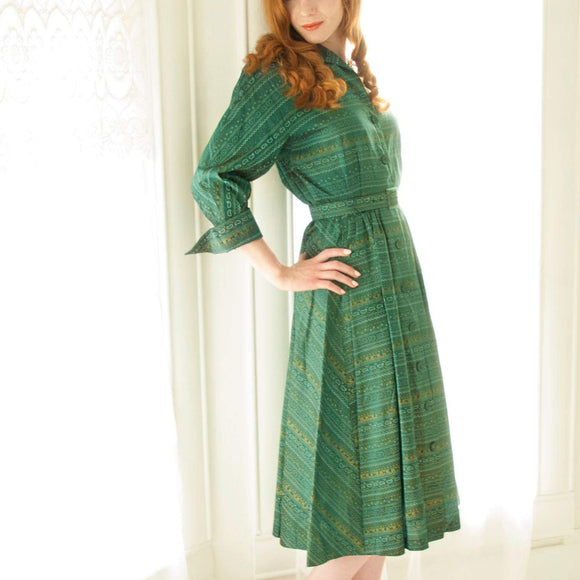 Vintage 1940s green dress, blue gold paisley shirt collar cuffs pockets midi formal, long sleeves, 1950s pin-up S M