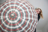 Vintage red plaid umbrella, white green black, wood ivory claw Lucite handle, 1940s 1950s mid-century, Storm Hero