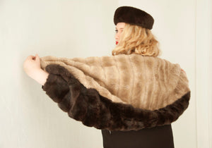 Vintage faux-fur wrap, tan dark-brown vegan 1960s formal rectangular shawl scarf OSFM