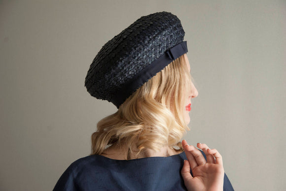 Vintage 1950s navy blue hat, woven raffia tall cossack nautical sailor formal pin-up