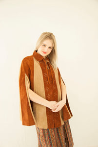 Vintage striped suede cape, rust brown tan poncho, floral punched leather cloak, 1960s 1970s boho retro Mexico OSFM