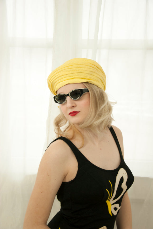 Vintage 1950s yellow turban hat, pin-up formal beach summer ladies