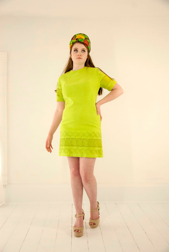 Vintage bright green mini dress, short sleeves, lime neon floral embroidered eyelet lace 1960s mod go-go M L