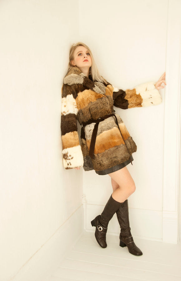 Vintage bell sleeve fur coat, couture striped tan brown white gray calico jacket, leather belt, boho mod, S M 1960s