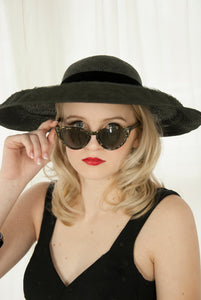 Vintage black cat-eye sunglasses, gold drizzle, 1950s pin-up summer sunnies shades