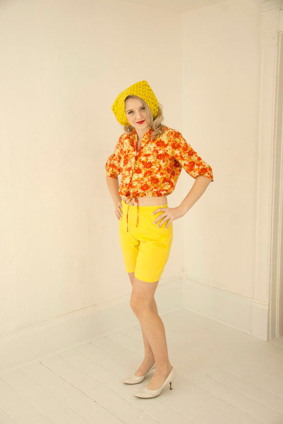 Vintage yellow high-waist shorts, orange floral crop top, headscarf set, 1950s 1960s cotton summer outfit, XS S